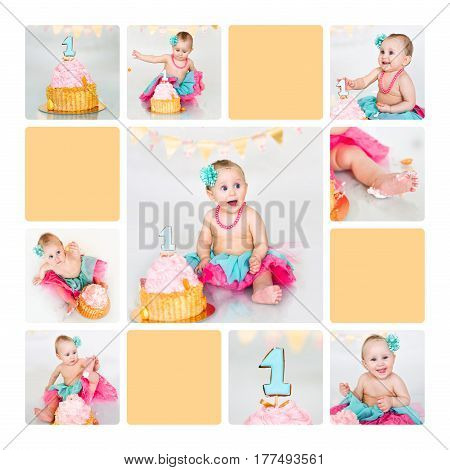 cheerful girl sits near a cake smash the cake