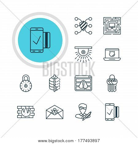 Vector Illustration Of 12 Data Icons. Editable Pack Of Easy Payment, Data Security, Camera And Other Elements.