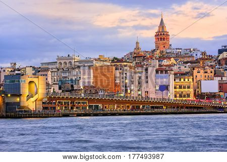 Galata Tower And Golden Horn On Sunrise, Istanbul, Turkey