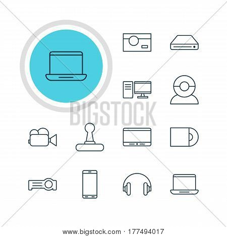 Vector Illustration Of 12 Hardware Icons. Editable Pack Of Photography, PC, Floodlight And Other Elements.