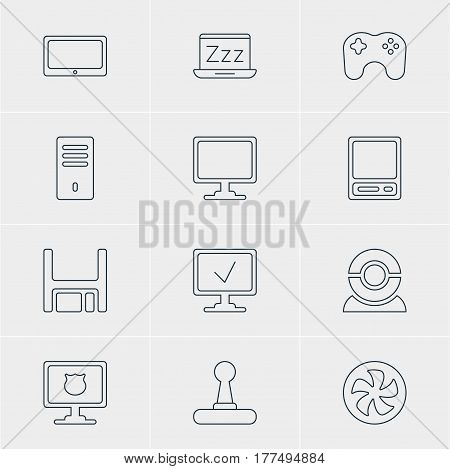 Vector Illustration Of 12 Computer Icons. Editable Pack Of Pda, Game Controller, Antivirus And Other Elements.