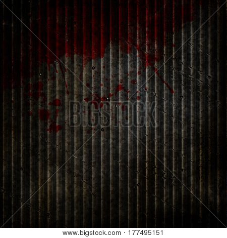 Grunge metal background with bloody splatters