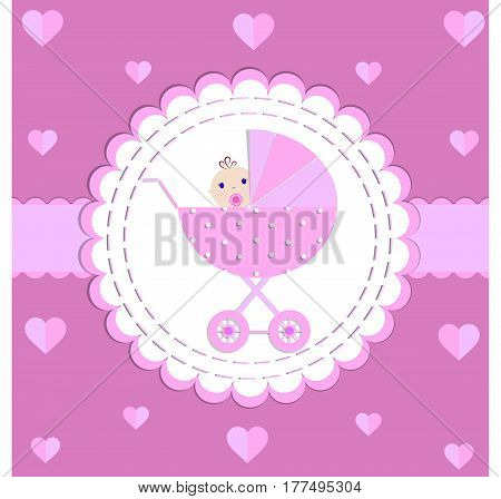 Postcard, invitation cartoon stroller baby pink raster background version