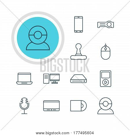 Vector Illustration Of 12 Technology Icons. Editable Pack Of Game Controller, Cursor Controller, Computer And Other Elements.