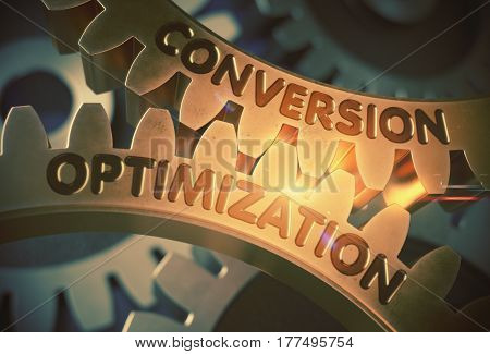 Conversion Optimizationon Golden Gears. Conversion Optimization on the Mechanism of Golden Metallic Cogwheels with Lens Flare. 3D Rendering.