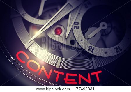 Content on Face of Elegant Wristwatch, Chronograph Up Close. Content - Black and White Up Close of Wrist Watch Mechanism. Time and Business Concept with Glowing Light Effect. 3D Rendering.