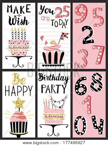 Happy Birthday Party cards set with cakes, cupcakes, toppers, candles, numbers and lettering text. Vector hand drawn illustration.