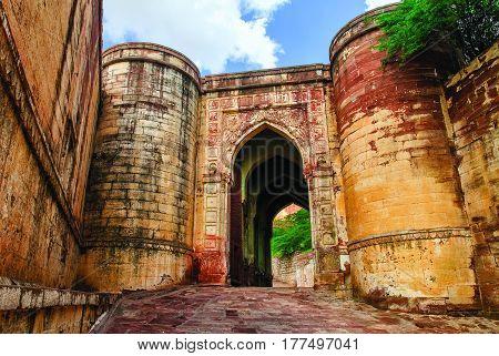 Massive Stone Gates Of Mehrangarh Fort, Jodhpur, India