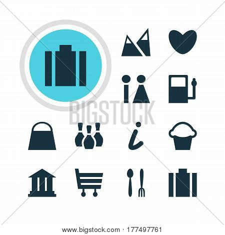 Vector Illustration Of 12 Check-In Icons. Editable Pack Of Shopping Cart, Skittles, University And Other Elements.