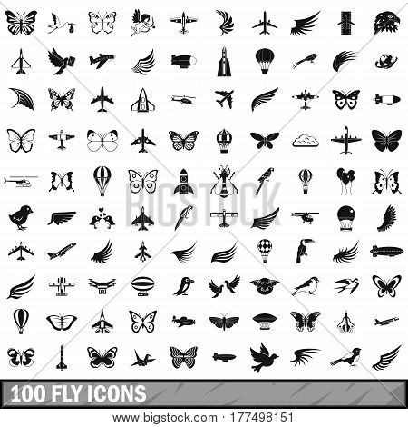 100 fly icons set in simple style for any design vector illustration