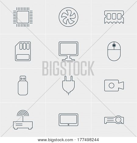 Vector Illustration Of 12 Notebook Icons. Editable Pack Of Cooler, Screen, Microprocessor And Other Elements.
