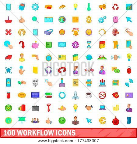 100 workflow icons set in cartoon style for any design vector illustration