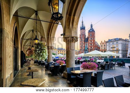 St Mary's Basilica and Main Market Square in Krakow Poland on sunrise