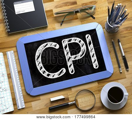 CPI - Text on Small Chalkboard.CPI. Business Concept Handwritten on Blue Small Chalkboard. Top View Composition with Chalkboard and Office Supplies on Office Desk. 3d Rendering.