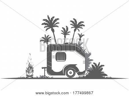 Vintage travel trailer on the white background.