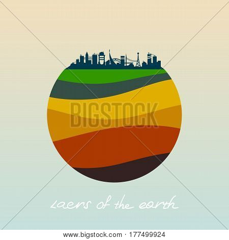 Layers of the earth. Vector flat icon.