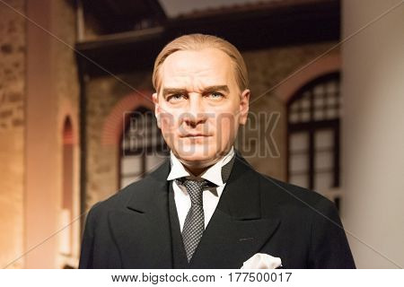 ISTANBUL, TURKEY - MARCH 16, 2017: Mustafa Kemal Ataturk wax figure at Madame Tussauds wax museum in Istanbul. Mustafa Kemal Ataturk was founder and first president of the Republic of Turkey.