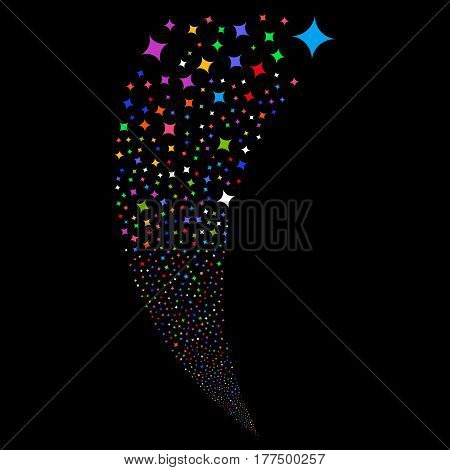 Sparcle Star random fireworks stream. Vector illustration style is flat bright multicolored iconic symbols on a black background. Object fountain done from scattered symbols.
