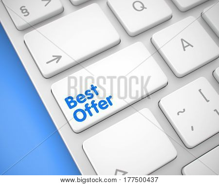 Up Close View on the Modernized Keyboard - Best Offer White Key. Online Service Concept: Best Offer on Conceptual Keyboard lying on the Blue Background. 3D.