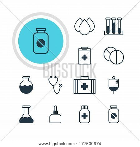 Vector Illustration Of 12 Health Icons. Editable Pack Of Medicine Jar, Medicament Pitcher, Pulse And Other Elements.