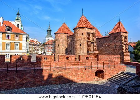 Red Brick Walls And Towers Of Warsaw Barbican, Poland