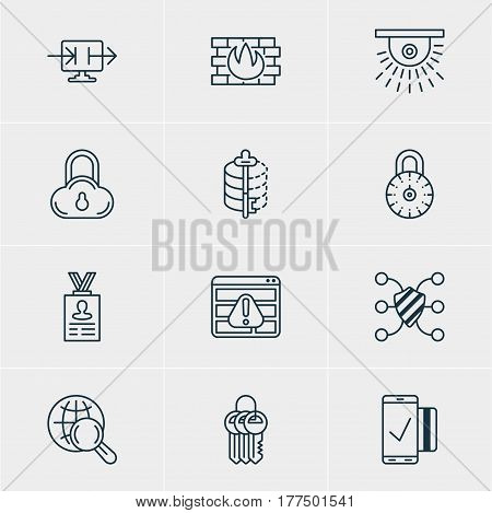 Vector Illustration Of 12 Protection Icons. Editable Pack Of Account Data, Camera, Internet Surfing And Other Elements.