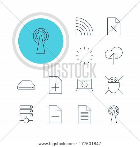 Vector Illustration Of 12 Internet Icons. Editable Pack Of Computer Virus, Router, Secure Laptop And Other Elements.