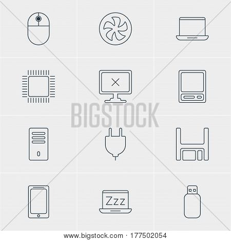 Vector Illustration Of 12 Notebook Icons. Editable Pack Of Access Denied, Pda, Diskette And Other Elements.