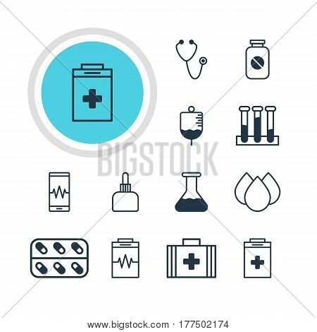 Vector Illustration Of 12 Medical Icons. Editable Pack Of Flask, Exigency, Medicament Pitcher And Other Elements.