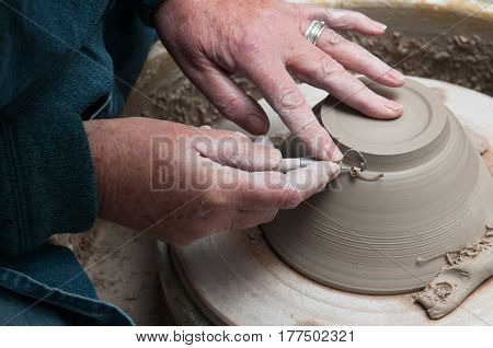 Womans Hands Creating Pottery Objects In A Ceramics Workshop
