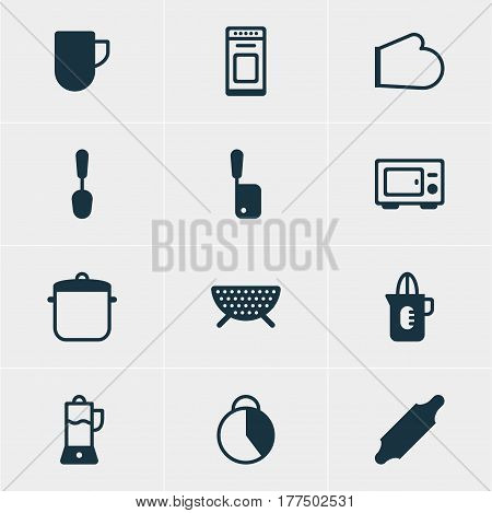 Vector Illustration Of 12 Cooking Icons. Editable Pack Of Butcher Knife, Timekeeper, Oven And Other Elements.