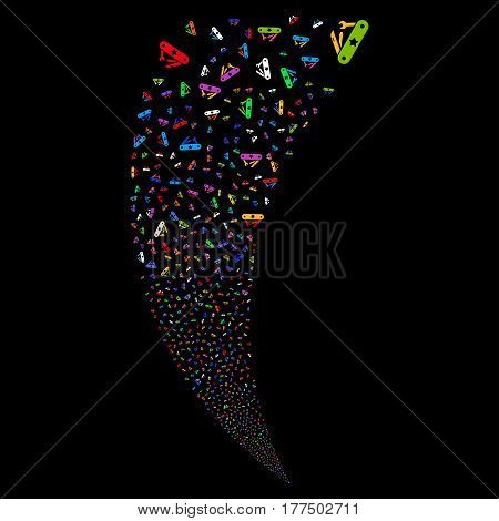 Universal Army Knife random fireworks stream. Vector illustration style is flat bright multicolored iconic symbols on a black background. Object fountain organized from scattered pictographs.