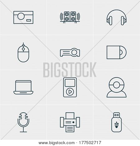 Vector Illustration Of 12 Hardware Icons. Editable Pack Of Photocopier, Media Controller, Dvd Drive And Other Elements.