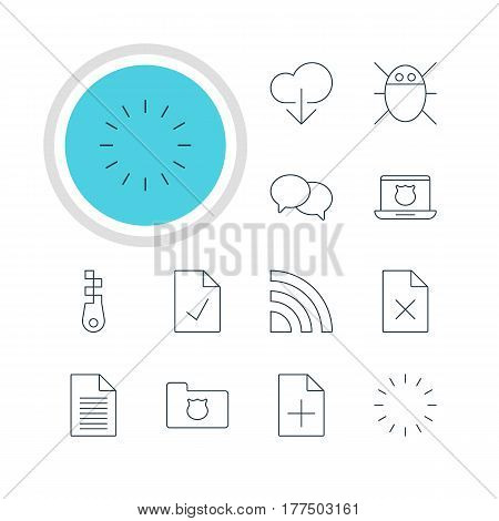 Vector Illustration Of 12 Internet Icons. Editable Pack Of Note, Wireless Network, Delete Data And Other Elements.