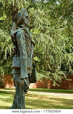 Auvers sur Oise France - august 14 2016 : statue of Van Gogh by Zadkine in Van Gogh park