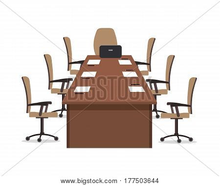 Conference hall. The office room is prepared for the meeting. There is a large desk and chairs in the picture. On the table is a laptop, paper for notes and pencils. Vector illustration.
