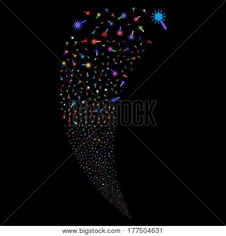 Wand Magic Tool random fireworks stream. Vector illustration style is flat bright multicolored iconic symbols on a black background. Object fountain organized from scattered design elements.