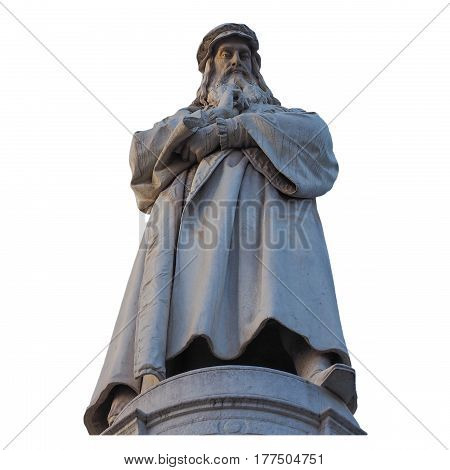 Leonardo Da Vinci Monument In Milan Isolated Over White