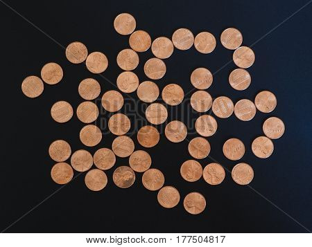 One Cent Dollar Coins, United States Over Black