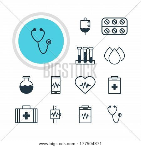 Vector Illustration Of 12 Medical Icons. Editable Pack Of Antibody, Heart Rhythm, Pills And Other Elements.