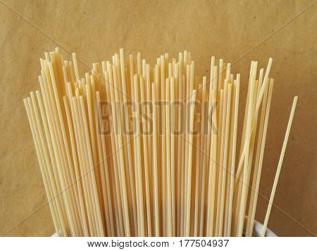 Spaghetti Pasta Over Yellow