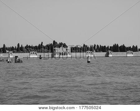 San Michele Cemetery Island In Venice In Black And White
