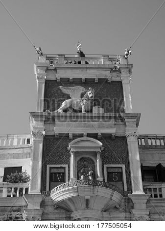 St Mark Clock Tower In Venice In Black And White