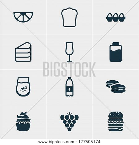 Vector Illustration Of 12 Dish Icons. Editable Pack Of Juice, Drink Bottle, Lime And Other Elements.