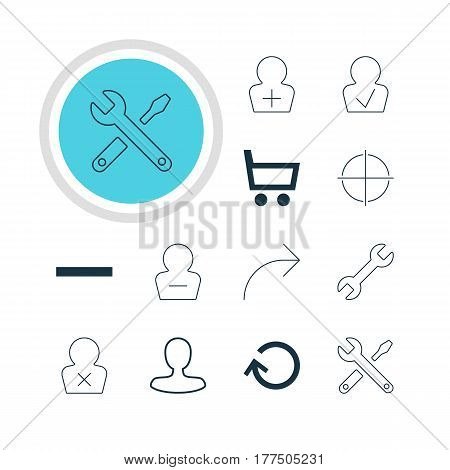 Vector Illustration Of 12 Interface Icons. Editable Pack Of Renovate, Share, Wrench And Other Elements.