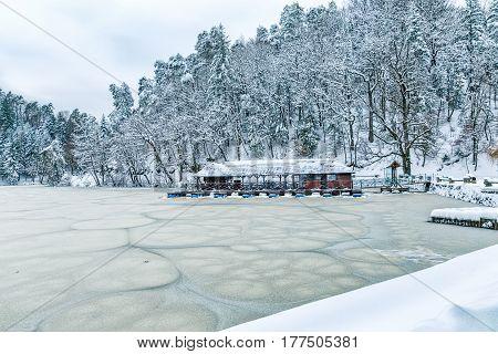 Frozen lake near the castle Trakoscan in Croatia.