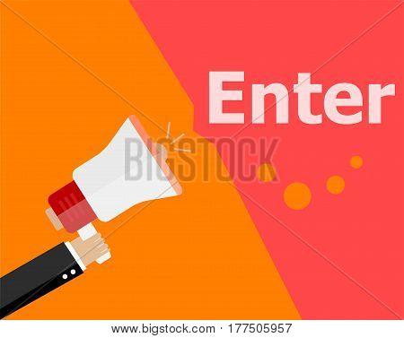 Flat Design Business Concept. Enter Digital Marketing Business Man Holding Megaphone For Website And