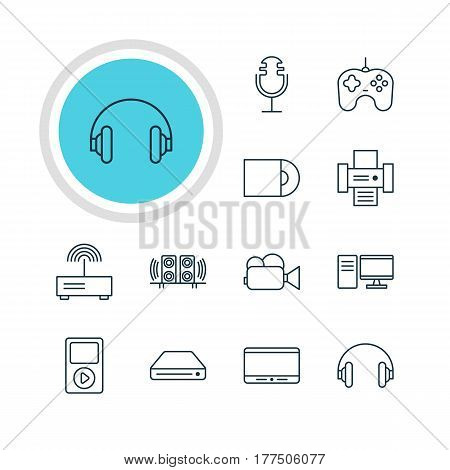 Vector Illustration Of 12 Hardware Icons. Editable Pack Of Headset, Modem, Media Controller And Other Elements.