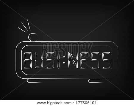 vector digital alarm clock with the word Business on the screen instead of the time (mesh background)