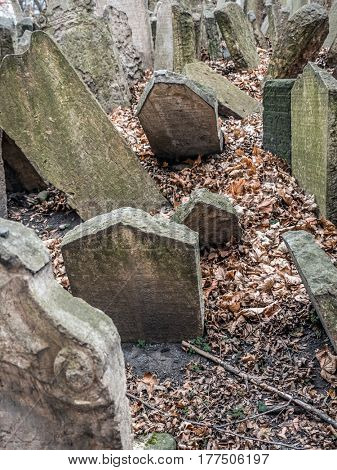 PRAGUE, CZECH REPUBLIC - MARCH 6 2017: Tombstones at the old Jewish cemetery in Prague, Czech Republic